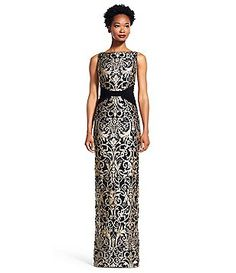 Adrianna Papell Metallic Lace X-Seam Column Gown