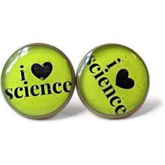 I Heart Science Stud Earrings - Pro Nerd Life Pop Culture Jewelry ($10) ❤ liked on Polyvore featuring jewelry, earrings, accessories, wrap earrings, i love jewelry, clear earrings, clear stud earrings and stud earrings