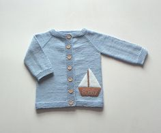 Light blue baby jacket with boat personalized baby by Tuttolv