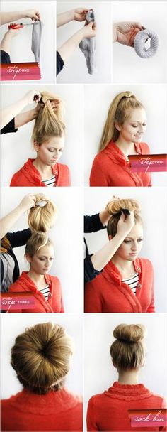 Sock bun! Just cut the toe of an old medium length sock then roll up the sock into a little donut. Ten put it around your pony tail and put the sock half way up your ponytail and roll the hair up in side the sock until all the hair is in the sock❤