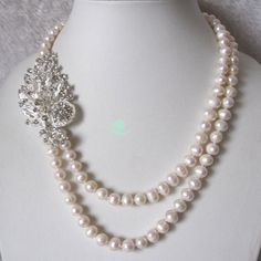 Pearl Necklace - 19-22 inch 8-9mm White Freshwater Pearl Necklace X2327 - Free shipping