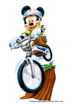 Mickey mouse en bicicleta