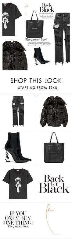 """Black Monochrome: Vetements x Balenciaga x A. Wang x Fendi x YSL"" by mariluz-garcia ❤ liked on Polyvore featuring Alexander Wang, Vetements, Yves Saint Laurent, Balenciaga, Fendi and Hirotaka"