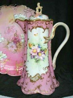 Ah yes, the vintage chocolate pot. Chocolate Pots, Chocolate Coffee, Pink Chocolate, Vintage Dishes, Vintage China, Antique China, Vintage Teapots, Tea Cup Saucer, Tea Cups