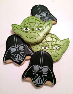 Star Wars cookies, yoda cookies and darth vadar cookies