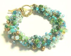 Bridesmaid Jewelry, BEACH GLASS, Sea Green Bangle Bracelet, Hand Knit Bead Crystal Spiral Rope, Blue Green, Gold Original Sereba Designs