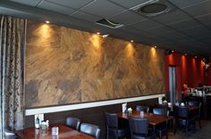 Cork wall covering in a restaurant