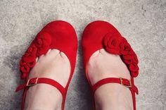 red flower shoes  - For Bridgette :-)