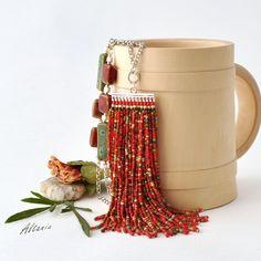 Handmade Beaded Jewelry, Tassel Jewelry, Seed Bead Jewelry, Beaded Bracelets, Jewellery, Diy Necklace, Fashion Necklace, Mexican Jewelry, Diy Tassel