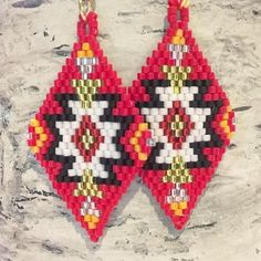 Kansas City Chiefs red and yellow beaded awesome earrings KC Beaded Earrings Native, Beaded Earrings Patterns, Beading Patterns, Bracelet Patterns, Seed Bead Jewelry, Seed Bead Earrings, Beaded Jewelry, Seed Beads, Native American Crafts