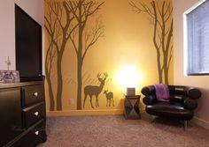 Pépinière mur décalque enfants mur décalque enfants decal petit mur décalque garçon - arbre Deer Wall Decal en vente