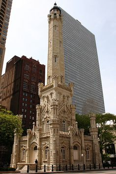 The Chicago Water Tower- William W. Boyington, 1869 - See more at: http://artsnapper.com/zoe-admires-chicago-architecture/#sthash.DqolTaIW.dpuf Zoe Admires Chicago Architecture while People Laugh at Her - Artsnapper