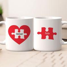 Personalized Name Couples Mug Set - Love Jigsaw Personalized Photo Mugs, Custom Photo Mugs, Custom Mugs, Dog Coffee, Coffee Mug Sets, Mugs Set, Friends Coffee Mug, Couple Mugs, Coffee Photos