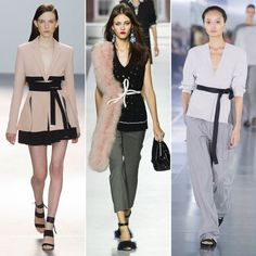 Tie One On - The waist is back! And with it comes a while new collection of belts to really emphasise the narrowest part of the body. London designers were obsessed with finishing their looks with tie belts, from grosgrain ribbon in classic black to chunky contrasting fabrics, skinny leather, and wide double-wrapped obi belts.