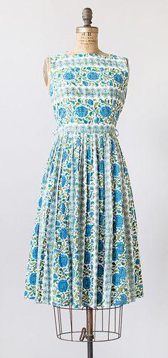 vintage 1960s green blue floral stripes dress   #vintage #1960s #vintagedress