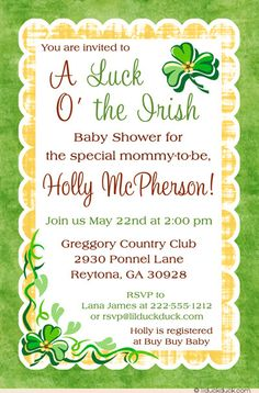 This shamrock Irish baby shower invitation brings the luck o' the Irish to your sweet mommy-to-be! With yellow & green colors that can be changed to suit your party, highlighting leafy shamrocks, your St. Patricks' Day baby will be welcomed in Irish style.