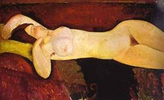 Le grand Nu (The great nude), 1917 by Amedeo Modigliani. Expressionism. nude painting (nu). Museum of Modern Art, New York, USA