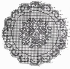 Naperon redondo com flores. Baby Cross Stitch Patterns, Cross Stitch Alphabet, Crochet Table Runner, Crochet Tablecloth, Crochet Dolls, Knit Crochet, Mantel Redondo, Filet Crochet Charts, Applique Quilts