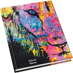 I don't like the lion but the neon colors on black will look really good with a retro theme Elementary Yearbook Ideas, Yearbook Class, Yearbook Layouts, Yearbook Design, Yearbook Theme, Yearbook Spreads, Yearbook Covers, Graphic Design Layouts, Book Design Layout