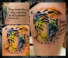 Water color tiger with a quote.