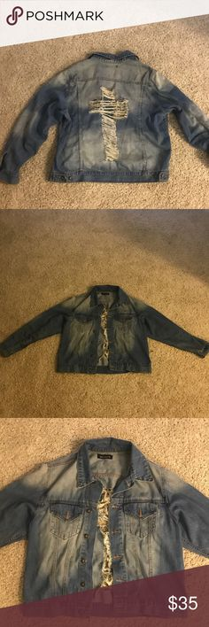 Boyfriend oversized distressed denim jacket This jacket is one size fits all, I listed it as a small simply because I wear a small but this can fit a XS-L it's oversized. It's super cute on. Distressed cross on the back adds some character to it! In excellent condition.  ❤️OPEN TO REASONABLE OFFERS! Jackets & Coats Jean Jackets