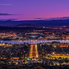 Taken from Mount Ainslie lookout just after sunset Australia Capital, Sydney Australia, Australia Places To Visit, Australian Capital Territory, Beautiful Scenery, Capital City, Continents, Amazing Places, Paris Skyline