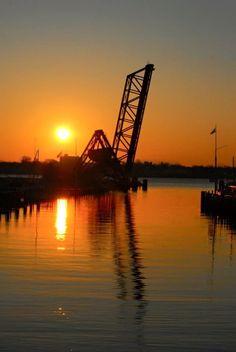 Pierre Marquette Railroad Bridge, that comes down over the mouth of Black River in  Port Huron,  Michigan