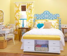 @Lori Bearden Julien with our own DIY shutter or window or door headboard? I like the small desk and storage at the foot of the bed