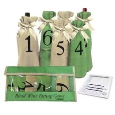 For Dad- Blind Wine Tasting Game Includes: Six Individually Numbered Bags, Storage Pouch & Pad Of Scoring Notes - All you need is wine!:  $13