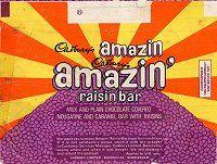 Cadbury Amazin Raisin Bar nougat, caramel and raisins. Retro Chocolate Bars, Cadbury Chocolate, Chocolate Coins, Chocolate Wrapper, 70s Sweets, Vintage Sweets, Vintage Food, Retro Sweets, Sweet Wrappers
