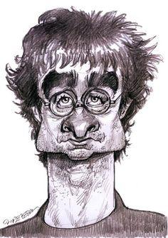 Daniel Radcliffe caricature, illustration of Jan Op DeBeeck