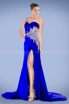 Compelling One-shoulder Royal Blue Prom Dress with Crystals and Split-front but not a big of a split