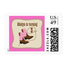 Pink Cowgirl Boots Western Birthday Party Postage
