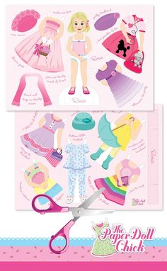 Rosie paper doll all ready to cut out. Love these colours. www.thepaperdollchick.com.au