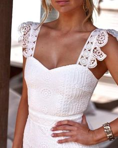 Lace Party Dresses, Evening Dresses, Wedding Dress, Bridesmaid Dresses, Fishtail Dress, White Midi Dress, White Lace Dresses, Dress Lace, Elegant White Dress