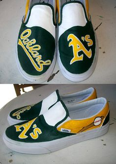 Oakland A's Custom painted Vans shoes