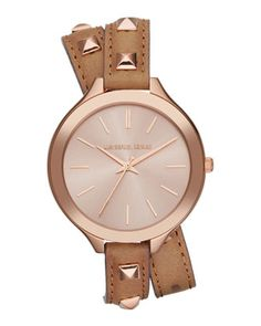 Michael Kors Mid-Size Rose Golden Pyramid-Stud Leather Runway Watch. Out May 2013