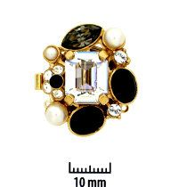 23KT Gold Plated, Deco, Push-Pull Box Clasp, with Rhinestones (crystal, jet, black diamond) and Faux Pearls and Black Stones, 3-strand, 27x22mm, (1 clasp)      Land of Odds - Jewelry Design Center  www.landofodds.com
