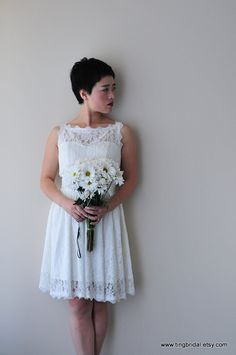 Reception dress!  1950s style knee length Wedding Dress RebeccaSize by TingBridal, $199.00
