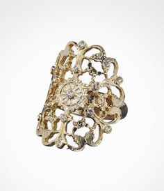SCATTERED STONE FILIGREE RING Romantic open filigree holds a shiny surprise - a scattering of little rhinestones. They're just large enough to bring some sparkle, but small enough to offer a good excuse for inviting someone to get close. #ExpressJeans