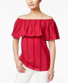 Style & Co Ruffled Off-The-Shoulder Top, Only at Macy's | macys.com