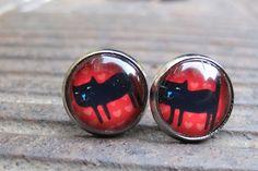 Moois van ' Me': oorstekertjes met een tekeningetje...    black cat red sky