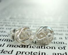 V*Dazzled Wire Wrapped NANO Stud Earrings- Clear Swarovski Crystal Beads on Silver Wire post earrings