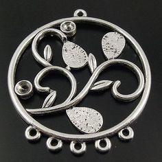 Antiqued style silver tone alloy flower dangle connector pendants findings 20pcs