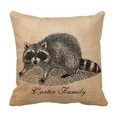 Raccoon Burlap Personalized