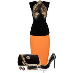 A fashion look from July 2014 featuring sleeveless peplum top, high waisted pencil skirt and christian louboutin pumps. Browse and shop related looks. Office Fashion, Business Fashion, Daily Fashion, Orange Skirt Outfit, Orange Outfits, Next Clothes, Business Dresses, Outfit Combinations, Fashion Outfits
