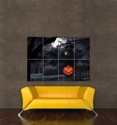 haunted house halloween spooky giant wall art print poster picture kb629 ebay