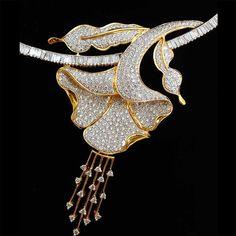 Exclusive Finest Ever 18k Yellow Gold Diamond Bridal Necklace + Earrings Set #SitaramHanumandas #ChokerCollar