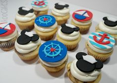 Nautical Mickey cupcakes www.koocakes.com