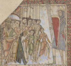 Men in cotes or bliauts with side slits.  Manuscript:  BL Cotton MS Nero C IV St. Swithun Psalter (Winchester Psalter) Folio 06r-1 Dating: 1150 From:  Winchester, England Holding Institution: British Library